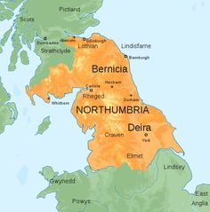 Map of the Kingdom of Northumbria around 700 AD - Kingdom of Northumbria - Wikipedia Kingdom Of Northumbria, Advertising History, English Heritage, Anglo Saxon, Historical Maps, Art History, Vikings, England, Britain