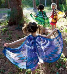 Fanciful Fabric Wings, could accomplish this with sheer curtains and permanent markers.. look on site for more ideas.. childrn's theatre