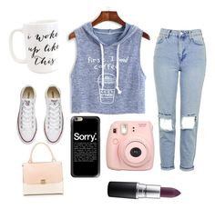 """""""I need coffe☕️"""" by beatrix04 on Polyvore featuring moda, WithChic, Moon and Lola, Topshop, Converse, Fujifilm, Casetify e MAC Cosmetics"""