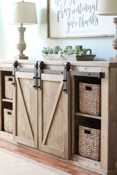 farmhouse furniture DIY Farmhouse Media Console Table - all the plans to make it yourself! Farmhouse Sofa Table, Farmhouse Interior, Farmhouse Furniture, Farmhouse Decor, Farmhouse Media Storage, City Farmhouse, Furniture Makeover, Diy Furniture, Furniture Storage