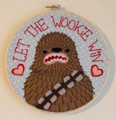 Felt Wookie embroidery hoop