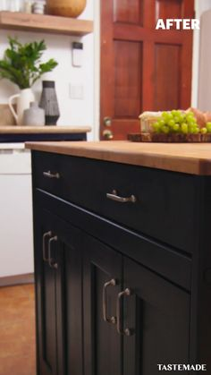 If your kitchen island feels like it's floating out of fashion, maybe it's time for an upgrade. A bold color, like Jet Black from Behr Paint, will do the trick. Click this pin to find your perfect paint color!  #Sponsored by Behr