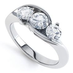 Modern Round 3 Stone Crossover Diamond Ring