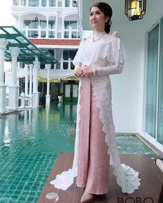 Thai Wedding Dress, Muslim Wedding Dresses, Bridal Dresses, Gaun Dress, Dress Brokat, Kebaya Lace, Kebaya Dress, Gala Dresses, Nice Dresses