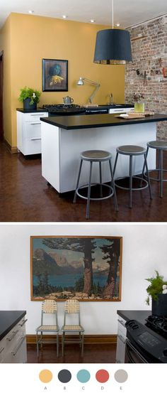color for kitchen wall in Washougal? Color pallette for KiaraA. Antique Bronze (Benjamin Moore), PMS 134; B. Corduroy Black (Valspar), PMS 5395; C. Majestic Blue (Benjamin Moore), PMS 7472; D. Rare Sienna (Valspar), PMS 180; E. Platinum Gray (Benjamin Moore), PMS 421 Read more at Design*Sponge http://www.designspongeonline.com/page/12#ixzz1HVPeWOlv