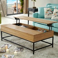 e talented American retro wood home furniture with creative foldable. Contemporary End Tables, Transforming Furniture, Family Room Decorating, Furniture Arrangement, Quality Furniture, House In The Woods, Home Living Room, Outdoor Sofa, Retro