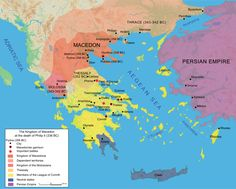 Map of the Kingdom of Macedon at the death of Philip II in 336 BC. Thrace (343 - 342 BC)