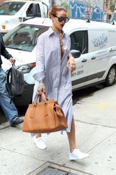 Rihanna in an oversized shirt dress in New York City.