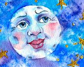 Moon Painting Watercolor Original Wall art Stars Celestial Full blue moon Face with Kissable Lips Sun Moon Stars, Sun And Stars, Watercolor Moon, Watercolor Painting, Watercolor Ideas, Full Blue Moon, Star Illustration, Moon Painting, Good Night Moon