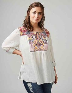 Embroidered Notch-Neck Peasant Top | Lane Bryant