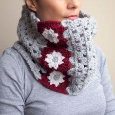 Crochet PATTERN women cowl neckwarmer granny square flower woman loop scarf circle scarf DIY photo tutorial Instant download by byaccessorise on Etsy https://www.etsy.com/listing/222544354/crochet-pattern-women-cowl-neckwarmer