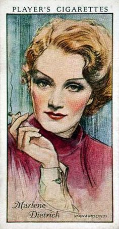 Marlene Dietrich cigarette card. She was a long time smoker, famed for her languid way of blowing smoke, but she eventually quit cigarettes in her later years.