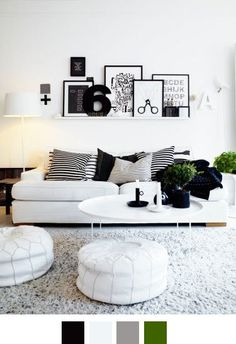love a picture ledge like the ikea ribba.... Love black n white & a hint of colour