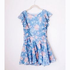 2xHP ROMWE Blue Floral Dress This dress is adorable, flowy, and really comfortable! Only worn twice! ROMWE Dresses