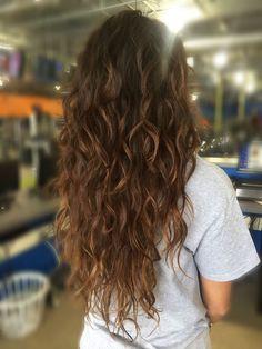 Beachy hair beachy curls with caramel balayaged color