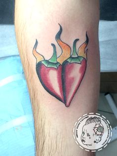 Red Heart Chilli Peppers old school by Tom Raven