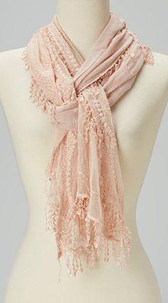 Light Pink Crochet Tassel Linen-Blend Scarf