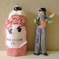 Pair Hand Made Black Dolls Souvenirs Of New Orleans from californiagirls on Ruby Lane