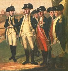 Allied generals and some of their staff at Yorktown, Virginia, 1781. Detail of painting by James Peale, executed some time after the surrender. Images are, from left to right: marquis de Lafayette, general George Washington, general Benjamin Lincoln, comte de Rochambeau, general Chastelleux, and colonel Tench Tilghman. [Initial work held by the Maryland Historical Society. A second like work is owned by Colonial Williamsburg, Virginia. A third version is believed to be owned by descendents…