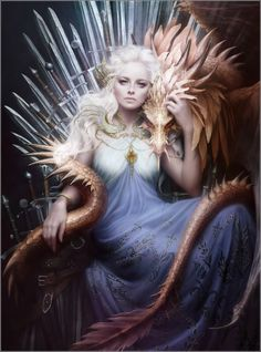 Daenerys Targaryen on the Iron Throne: Magnificent Digital Painting by Melanie Delon (1324x1785) • Game of Thrones