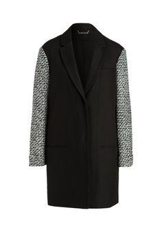 Der elegante Mantel mit Kontrastärmeln ist immer ein Hingucker und beweist echten Modegeschmack!-schwarz von DIANE VON FURSTENBERG bei OUTLETCITY.COM bestellen.