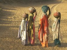 size: Photographic Print: Girls Wearing Sari with Water Jars Walking in the Desert, Pushkar, Rajasthan, India by Keren Su : Artists We Are The World, People Of The World, Saris, India Poster, Ariana Grande Drawings, Precious Children, Print Store, Cool Posters, Great Pictures
