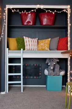 Add some more seating space to a room by installing a padded bench. This could also be used as a reading nook