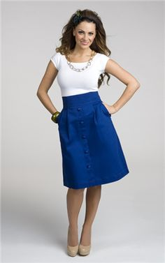 I love this skirt!  It comes in multiple colors, but the bright blue is very appealing. *This website also links to a lot of cool modest stores. :)