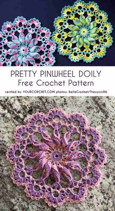 As I was looking for a Christmas doily pattern, I found this Pretty Pinwheel Doily. Thread Crochet, Crochet Crafts, Crochet Stitches, Crochet Projects, Knit Crochet, Crochet Sweaters, Filet Crochet, Crochet Shrugs, Free Crochet Doily Patterns