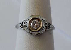 Vintage Antique .25ct Diamond F-G Color 18k White Gold Engagement Ring 1920's Art Deco Filigree