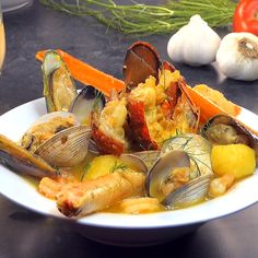 Classic French fish soup recipe that is heathy and authentic. Soup recipe for parties or dinner with family. Classic French fish soup recipe that is heathy and authentic. Soup recipe for parties or dinner with family. Bouillabaisse Rezept, Seafood Bouillabaisse, Italian Seafood Stew, Seafood Dinner, Fish And Seafood, French Fish Soup, Seafood Recipes, Shellfish Recipes, Food Videos