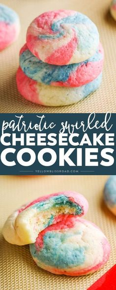These Patriotic Cheesecake Cookies are an adorable version of our classic cookie. Created in a swirl of red, white and blue, they are the perfect dessert for Fourth of Memorial Day! #yellowblissroad