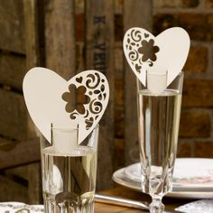 With Love Place Card For Glass Ivory
