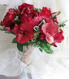POST CHRISTMAS SALE Lush red wedding bouquet.  Real touch anemones, orchids, silk roses, gladioli, berries and lush foliage.