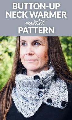 This button-up squares cowl neck warmer crochet pattern buttons up so it stays secure around your neck to keep you warm during the cold, winter months.