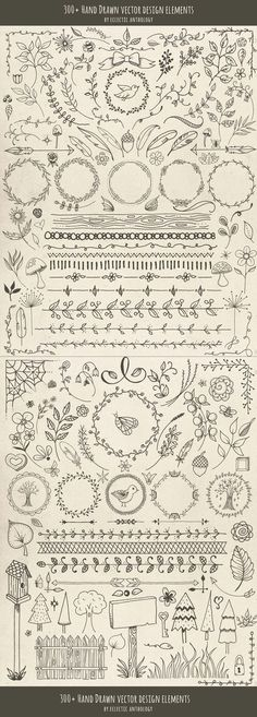 "Over 300 ""Woodland Whimsy"" Hand Drawn Vector Design Elements! Flourishes, curls, corners, borders, wreaths, leaves, flowers, mushrooms, birds, bugs, hearts, stars, feathers, arrows, and so much more."