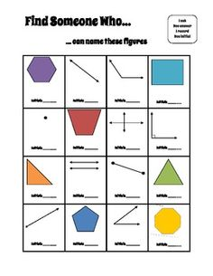 Find Someone Who: Lines, Angles, & Polygons -- Get the whole class up and moving while reviewing lines, angles, and polygons