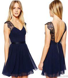 Sexy Navy Blue Lace Backless Chiffon Dress