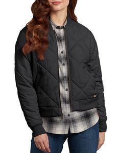 Women s Quilted Bomber Jacket - Black (BK) New Outfits f9d9f250fd3