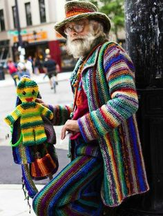 Crochet man: Once you're over 60 you're free to wear what you please. Good for him!