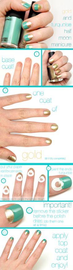 Monday: Moon River Manicure half-moon manicure step-by-step. gotta try this!half-moon manicure step-by-step. gotta try this! Half Moon Manicure, Moon Nails, Manicure Y Pedicure, Gold Manicure, Manicure Ideas, Diy Nails, Cute Nails, Pretty Nails, Teal Nails