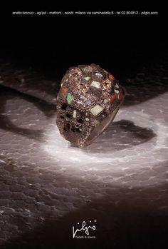 anello: bronzo - interno in ag/pd - zoisiti - ceramica - mattoni -lapislazzuli - diamanti