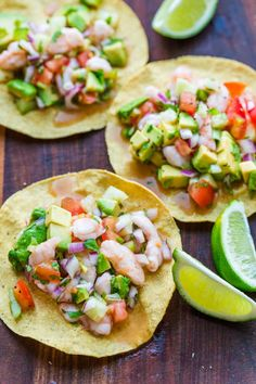 Ceviche is loaded with shrimp, avocados, tomatoes and cucumbers; all marinated in fresh lime juice. You can use cooked or raw shrimp in this Mexican shrimp cocktail. Ceviche is among our favorite appe Mexican Appetizers, Shrimp Appetizers, Appetizer Recipes, Dinner Recipes, Seafood Recipes, Mexican Food Recipes, Cooking Recipes, Mexican Desserts, Freezer Recipes