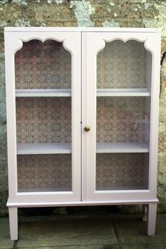 Vintage Shabby Chic Glass Fronted Display Cabinet Cupboard Storage ...
