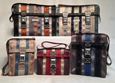 Clay Bush. Salvage. Seat belt bags. See this work and more at the Tennessee Craft Fair May 2-4, 2014 at Nashville's Centennial Park.