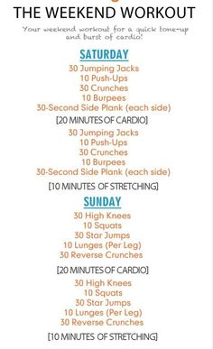 I'm going to have to try this, the weekend workout plan.