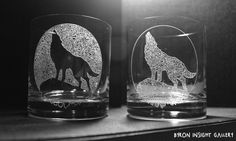 Inverted Wolf design etched, sandblasted into crystal tumblers