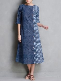 Buy Indigo Ivory Coral Dabu Printed Button Detail Cotton Dress by Indian August… Linen Dresses, Cotton Dresses, Casual Dresses, Kurta Patterns, Dress Patterns, Kurta Designs, Moda Indiana, Floryday Vestidos, Modele Hijab
