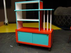 Dollhouse Miniature Furniture - Tutorials | 1 inch minis: MID-CENTURY 1 INCH SCALE ROOM DIVIDER/BOOKSHELF TUTORIAL - How to make a 1 inch scale mid-century room divider for your dollhouse.