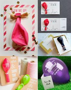 Invitaciones de boda con mensaje en un globo